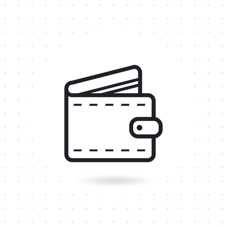 Open wallet flat icon isolated on white background.
