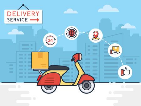 Ilustración del vector de entrega. Servicio de entrega con motocicleta scooter y cajas de cartón en el fondo de la ciudad. Entrega 24 horas concepto.