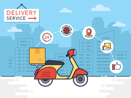 Delivery vector illustration. Delivery service with scooter motorcycle and cardboard boxes on city background. Delivery 24 hour concept.