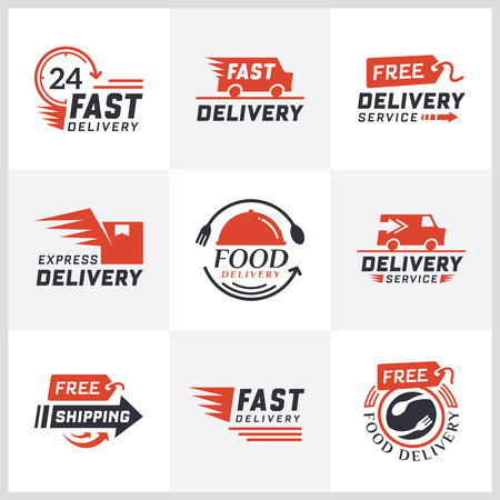 Set of delivery labels for online shopping. Worldwide shipping, Delivery signs and logo. Signs and labels free delivery. Fast delivery logotype. Delivery service icons. Food delivery design