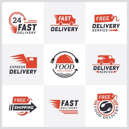 Set leveringsetiketten voor online winkelen. Wereldwijde verzending, leveringstekens en logo. Tekens en labels gratis levering. Snelle levering logo. Bezorgservice pictogrammen. Voedsel levering ontwerp