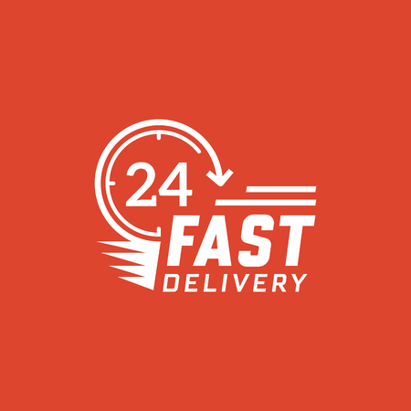 Fast delivery 24 hour on red background. Delivery label for online shopping. Worldwide shipping  vector illustration.