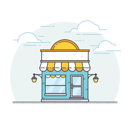 Storefront in flat style. Flat design of store building. Vector illustration of front facade building store. Online store vector illustration