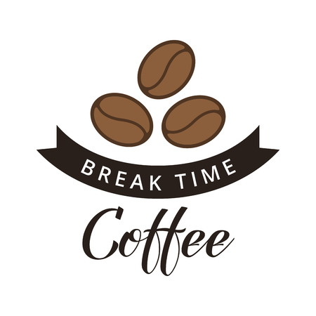 Coffee beans on white background. Break time. Coffee break illustration. Coffee shop illustration design element vintage vector.