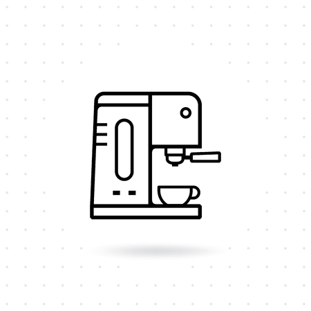 Coffee machine icon. Espresso coffee machine outline icon. Coffee equipment vector illustration. Icon coffee machine with cup in flat line design style.