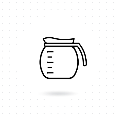 Coffee pot icon. Coffee jug outline icon. Glass coffee pot vector illustration. Coffee maker icon on white background. Alternative coffee brewing Illustration
