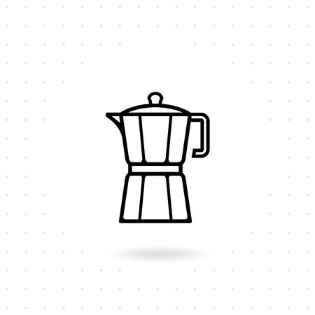 Moka pot icon. Coffee maker vector illustration, moka pot icon in line style design. Flat coffee maker icon on white background Italian coffee maker.