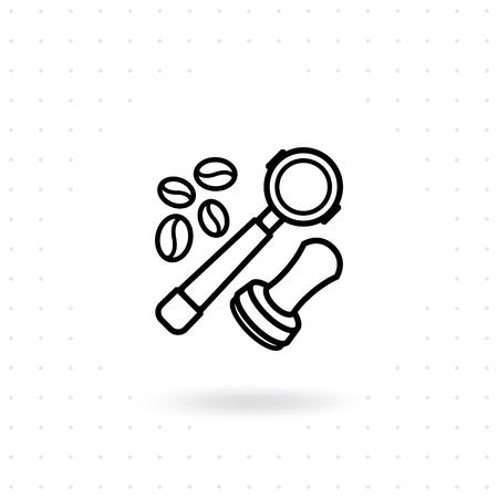 Portafilter icon. Coffee equipment vector illustration. Coffee maker in flat line style. Vector linear design of coffee barista equipment tools espresso tamper, portafilter, coffee beans  イラスト・ベクター素材