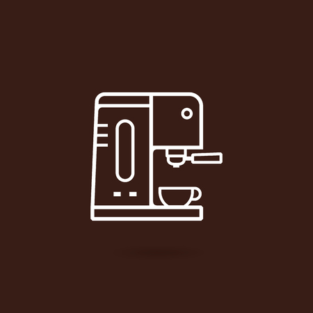 Coffee machine icon. Espresso coffee machine outline icon with brown background. Coffee equipment vector illustration. Icon coffee machine with cup in flat line design style