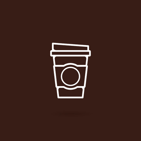 Disposable coffee cup icon. Take away coffee cup icon with brown background. Coffee cup icon vector illustration. Coffee to go icon on white background. Coffee cup icon in flat line style 일러스트