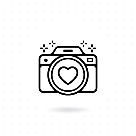 Vector for web and mobile applications. Photo camera outline vector icon. Camera icon with a heart symbol on the lens. Photography Vector illustration