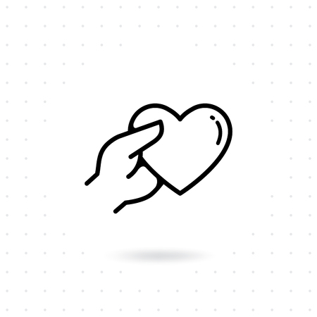 Hands with heart icon. Hands holding heart vector. Hands give a heart gift for Valentine's day. Line icon concept of Charity, Donate, Fundraising Illustration