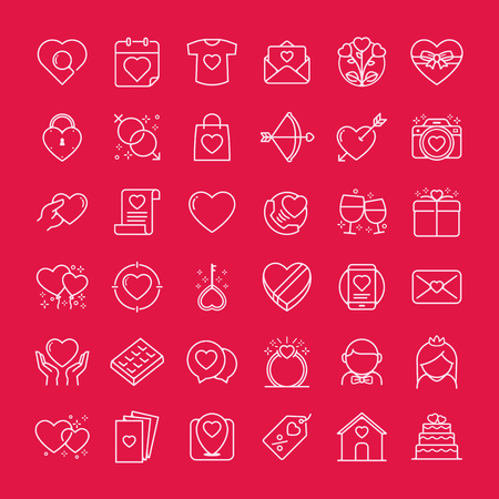 Valentines Icons Set Set Of Romantic Valentines Day Symbol