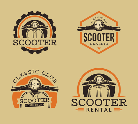 Vector set of Classic scooter emblems, icons and badges. Vector illustration of vintage scooter. Classic retro and vintage motorbike.