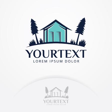 House logo design. Vector logo design of a trees and small house. Real estate vector logo template Illustration