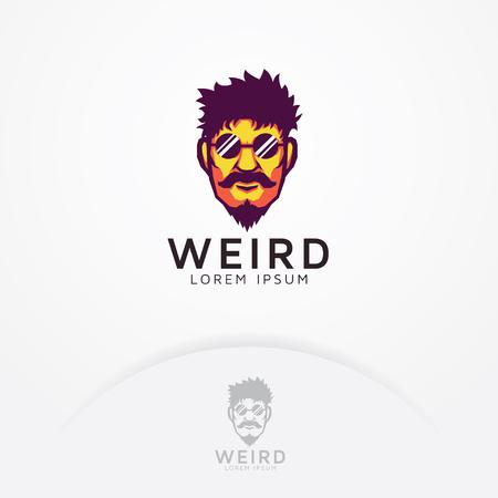 Strange man logo. Illustration of strange bearded man and mustache with glasses - Vector logo template