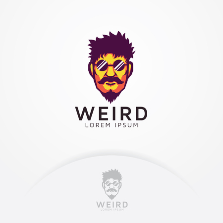 Strange man logo. Illustration of strange bearded man and mustache with glasses - Vector logo template