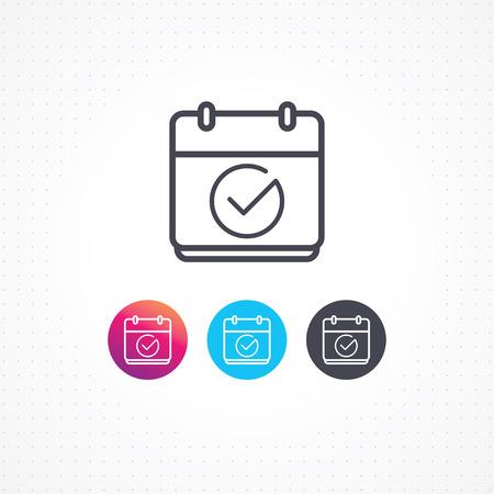 Calendar icon. Vector icon calendar with check mark. Ilustração