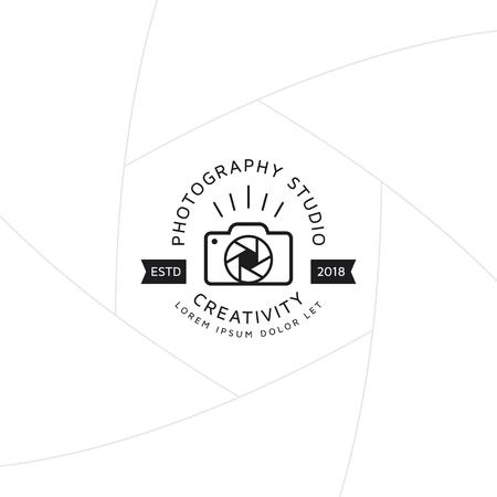 Creative camera logo concept badge design for studio photography template