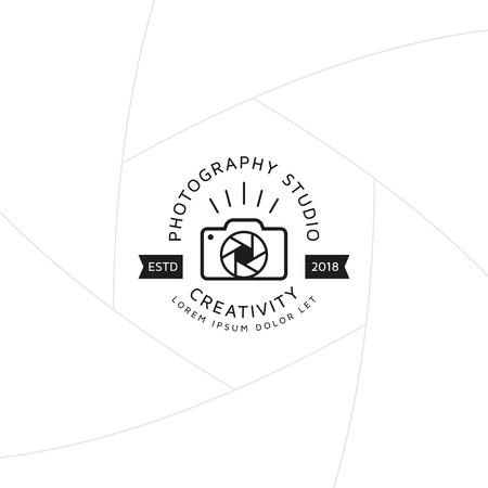 Creative camera logo concept badge design for studio photography template