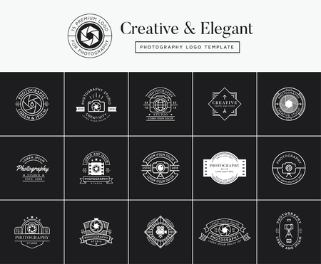 Set of premium photography emblems, badges, labels, logo designs. Photography logo template
