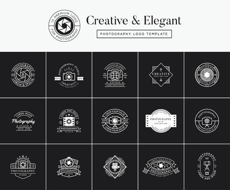 Zestaw emblematów fotograficznych premium, odznak, etykiet, projektów logo. Szablon logo fotografii Logo