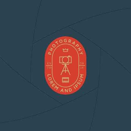 Photographer studio badge or label design, Logo for studio and photographer or videographer. Photography logo template 일러스트