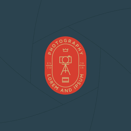 Photographer studio badge or label design, Logo for studio and photographer or videographer. Photography logo template Illustration