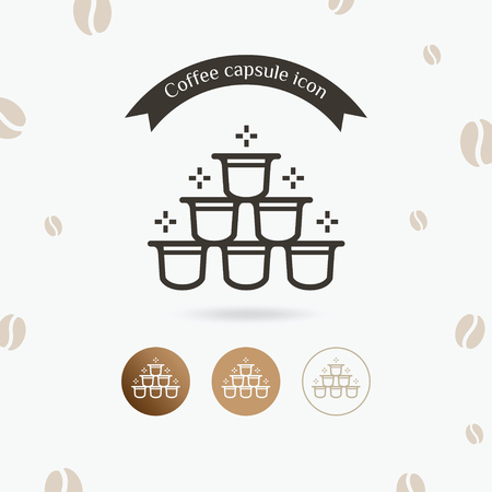 Coffee capsule icon. Barista equipment, Coffee in capsules for espresso machine