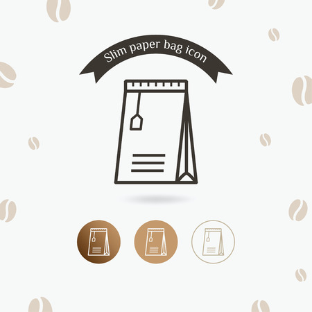 Slim paper bag icon. Coffee packet, Foil paper bag package of coffee, tea and sugar