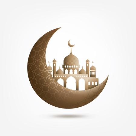 Fond islamique un demi-mois avec mosquée Vecteurs