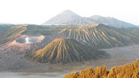 Mount Bromo volcano during sunrise, in East Java, Indonesia landscape Stock Photo