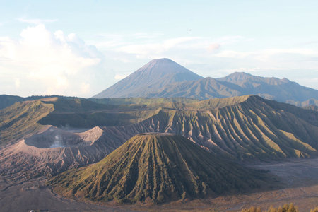 Landscape view Bromo mountain is an active volcano from Penanjakan viewpoint at Bromo Tengger Semeru National Park , East Java, Indonesia Stock Photo