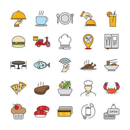 Filled outline restaurant and food icons, Restaurant icon set suitable for infographics, websites and print media 일러스트
