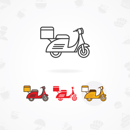 Delivery food icon, Fast and free food delivery icon with scooter Ilustracja