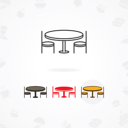 Dining table icon, Booking dinner icon, Icon of restaurant table with chairs