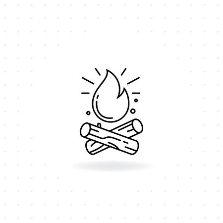Bonfire icon, Black thin line Bonfire icon with shadow, Vector of Bonfire for camping and outdoor activities  イラスト・ベクター素材