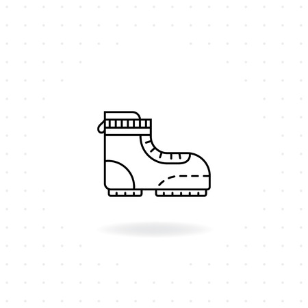 Hiking boots icon, Black thin line Boots icon with shadow, Vector of Boot for camping and outdoor activities