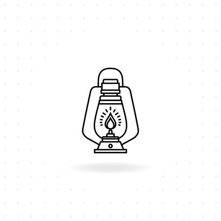 Camping lantern icon, Black thin line Lantern icon with shadow, Vector illustration of Vintage camping lantern for camping and outdoor activities
