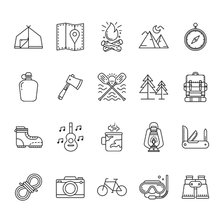 Set of Hiking and camping icons, Camping equipment vector collection, Outdoor activities and Sports icon in linear style Çizim