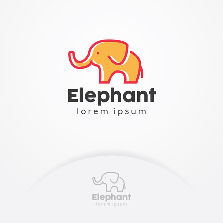 Baby elephant logo, Vector logo of a baby elephant with flat style, Simple and cute illustration of Elephant - Vector logo template