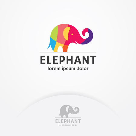 Colorful Elephant logo, Elephant logo with flat and colorful style, Simple and colorful vector logo template Çizim