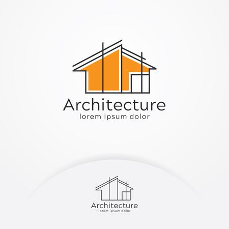 Architektur-Logo-Design, Markendesign-Vorlage des Vektorbauunternehmens. Architekt und Bauvektorlogoschablone Logo
