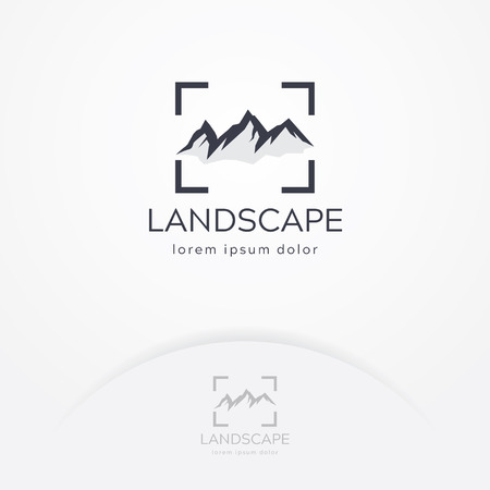 Mountain photography logo. Modern photography logo, Nature and landscape photography. Travel logo template Illustration