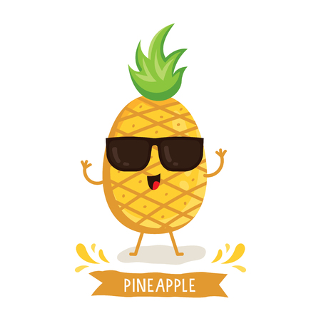 Cute Pineapple character, Pineapple cartoon vector illustration. Cute fruit vector character isolated on white background
