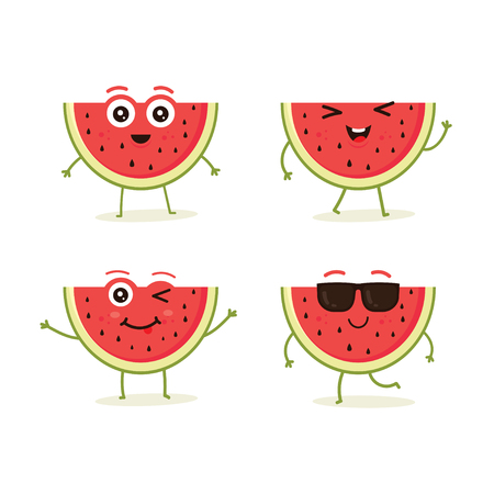 Cute vector set of watermelon fruit character in different action emotion. Collection of watermelon characters in different expressions, Funny fruit character isolated on white background