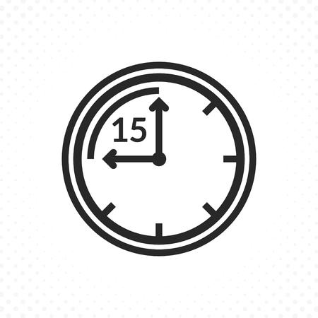 Icona del conto alla rovescia del tempo. Icona di vettore dell'orologio e dell'ora, simbolo del timer in stile lineare. Simbolo del tempo di quindici minuti Vettoriali