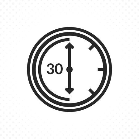 Time countdown icon. Clock and time vector icon, Timer symbol in linear style. Thirty minutes symbol