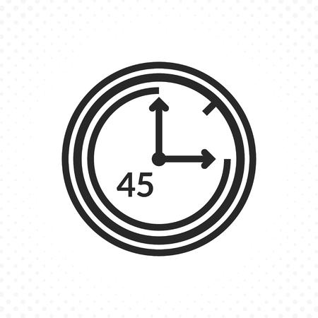 Icona del conto alla rovescia del tempo. Icona di vettore dell'orologio e dell'ora, simbolo del timer in stile lineare. Il simbolo dei quarantacinque minuti Vettoriali