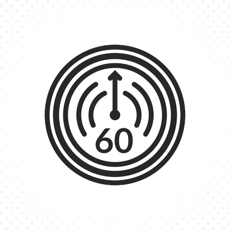 Time countdown icon. Clock and time vector icon, Timer symbol in linear style. Symbol of sixty minutes or one hour